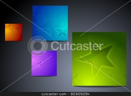 Colourful star backgrounds stock vector clipart, Set of vibrant star posters. Eps 10 vector illustration by saicle