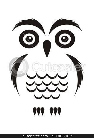 Black owl stock vector clipart, Black vector cartoon simple owl icon on white by blumer
