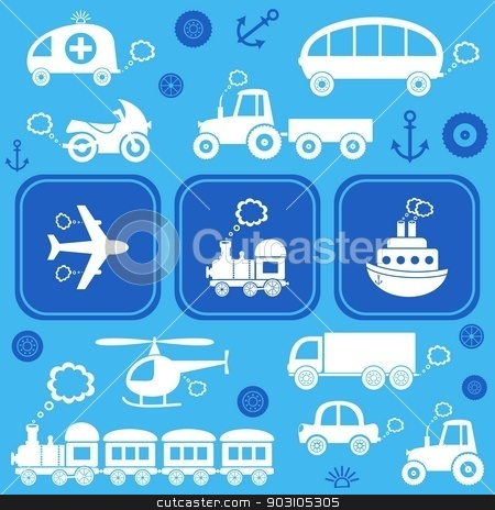 Transport icons  stock vector clipart, Blue card with white means of transport icons by blumer