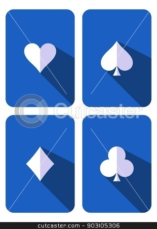 Play cards stock vector clipart, Blue playing cards with white symbols flat design by blumer