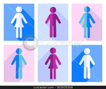 Man and woman icons stock vector clipart, Man and woman flat design icons colorful collection by blumer