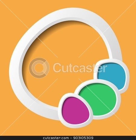 Background with buttons stock vector clipart, Orange abstract background with colorful round text places by blumer