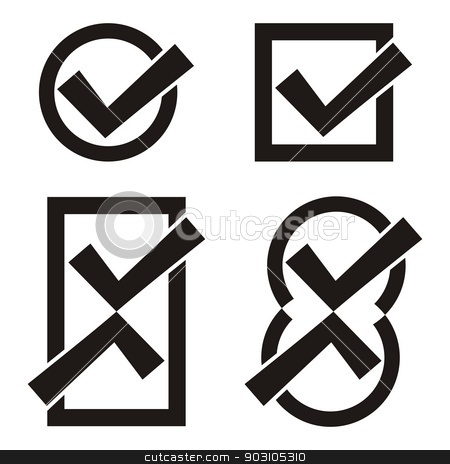 Black tick icons stock vector clipart, Set of four black vector tick icons by blumer