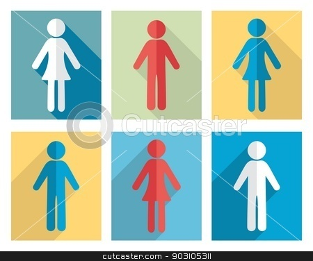 Man and woman icons stock vector clipart, Set of man and woman flat design icons by blumer