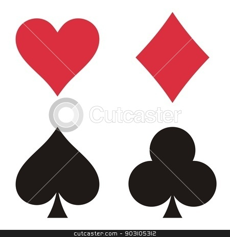Play cards stock vector clipart, Set of playing card symbols on white background by blumer