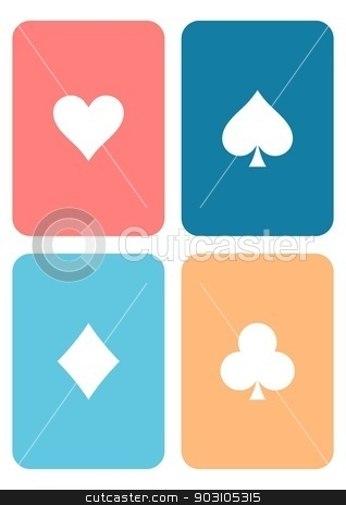Play cards stock vector clipart, Set of vector colorful playing cards with symbols by blumer