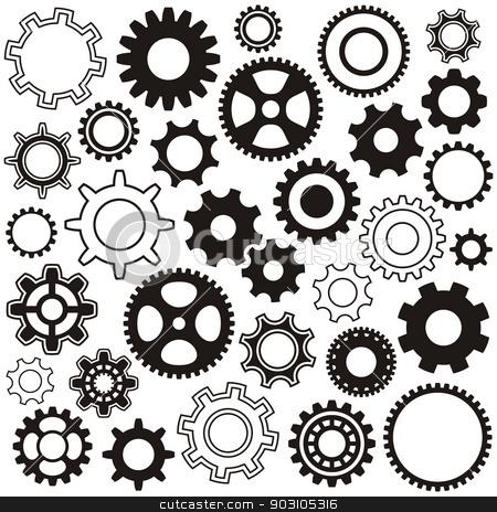 Gear wheels stock vector clipart, Various gear wheel collection black vector silhouette by blumer