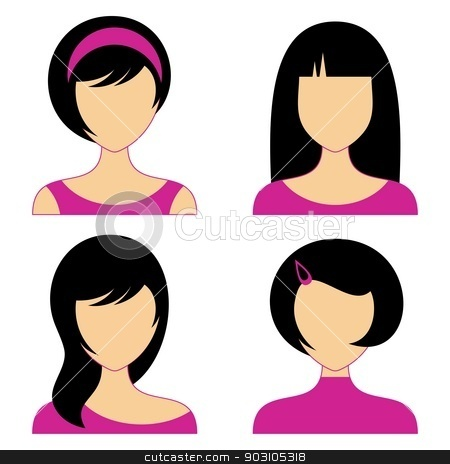 Woman faces stock vector clipart, Vector woman face icons with various hair style by blumer