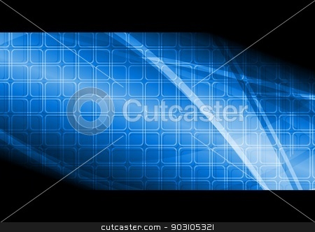 Blue technical banner stock vector clipart, Beautiful hi-tech banner. Vector illustration eps 10 by saicle