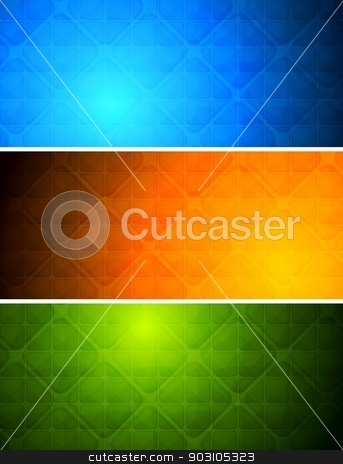 Vibrant abstract banners stock vector clipart, Simple abstract banners with square texture. Eps 10 by saicle