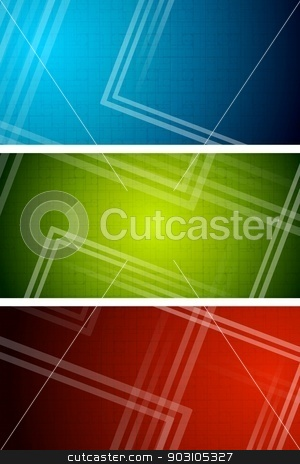 Technical banners stock vector clipart, Set of simple tech banners. Eps 10 vector by saicle