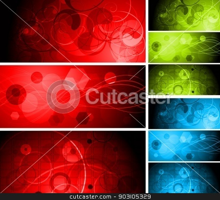 Beautiful vibrant banners stock vector clipart, Bright different abstract banners. Three colours. Eps 10 vector by saicle