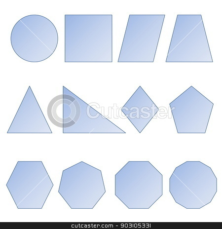 Set of shapes stock photo, Set of two dimension shapes in white background by Elenarts