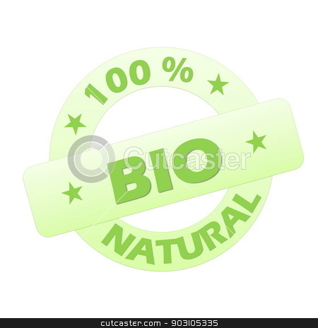 Bio stamp stock photo, Green bio stamp isolated in white background by Elenarts