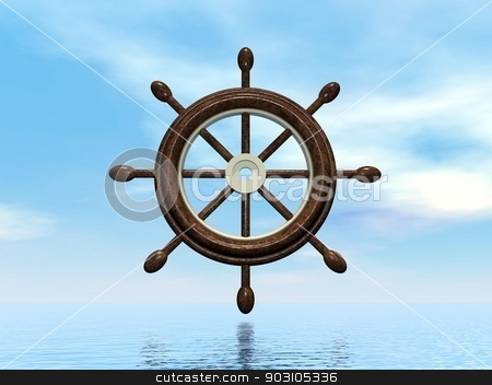 Ship wheel - 3D render stock photo, Beautiful old wooden ship wheel upon blue ocean by Elenarts