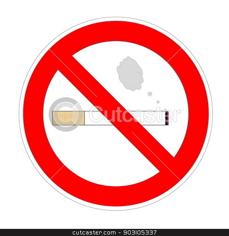 Non smoking area stock photo, Cigarette with smoke into forbidden sign in white background by Elenarts