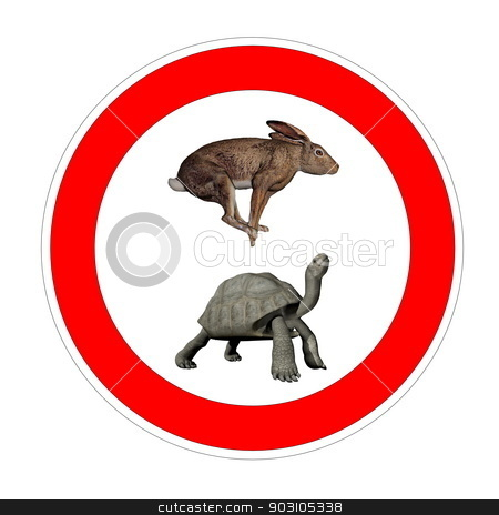 Turtle and hare speed limit stock photo, Hare and galapagos turtle inside speed limit symbol in white background by Elenarts