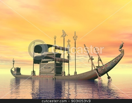 Egyptian sacred barge with tomb - 3D render stock photo, Egyptian sacred barge with tomb floating on the water by sunset by Elenarts
