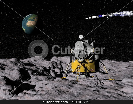 Apollo program - 3D render stock photo, Apollo on moon surface, saturn V in the background with earth - Elements of this image furnished by NASA by Elenarts