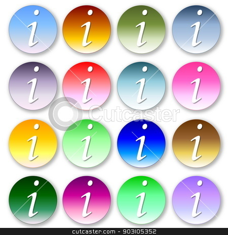 Set of colorful information icons stock photo, Set of many colorful information icons in white background by Elenarts