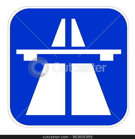 European highway icon stock photo, Blue european highway icon isolated in white background by Elenarts