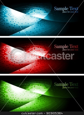 Dark contrast banners stock vector clipart, Vibrant technical backgrounds. Vector design. by saicle