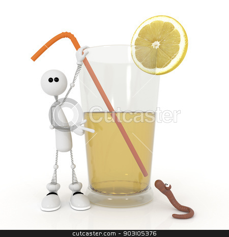 The 3D little man with a cocktail. stock photo, Drink juice only from a freshly squeezed citrus. by karelin721