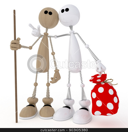 3d little men friends. stock photo, Two friends gather in a campaign. by karelin721