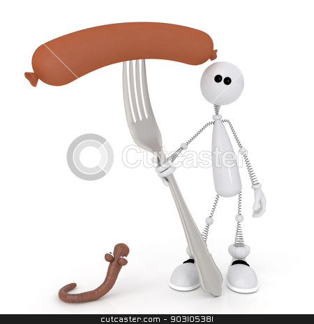 The 3D little man with a sausage on a fork. stock photo, To have a bite with the friend the best rest after work. by karelin721