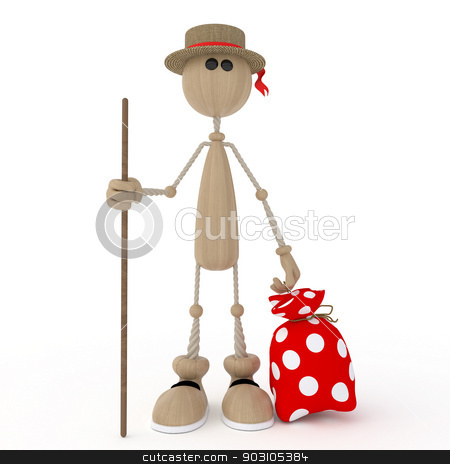 The 3D person prepares for a campaign. stock photo, Gathering in a campaign take with itself a sack. by karelin721