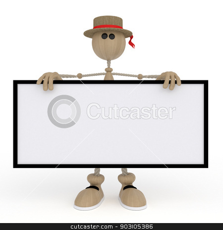 The 3D little man with a sign. stock photo, The wooden character holds a billboard. by karelin721