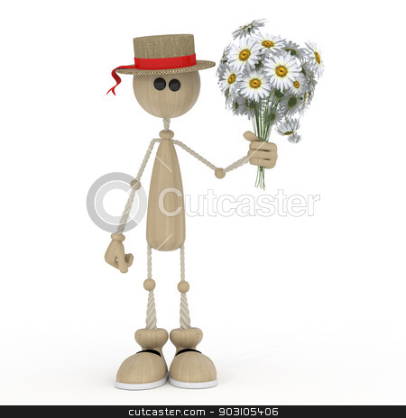 The 3D little man with flowers. stock photo, Congratulation on a holiday of spring and love. by karelin721