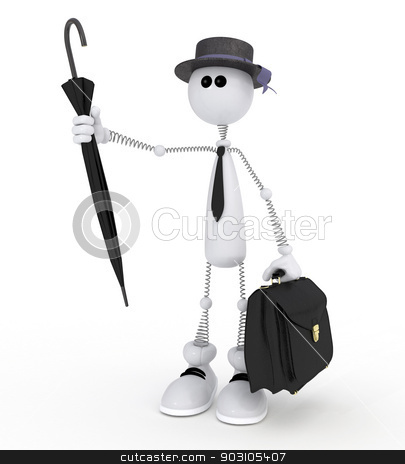 The 3D white little man with a portfolio. stock photo, The businessman gathering for work catches a taxi an umbrella. by karelin721