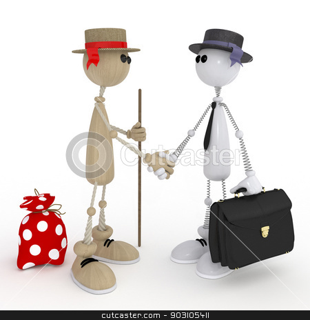 3d little men businessmen. stock photo, Friendly meeting of two old friends. by karelin721