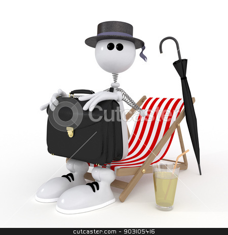The 3D little businessman on a beach. stock photo, Travel on the solar coast of the warm sea. by karelin721