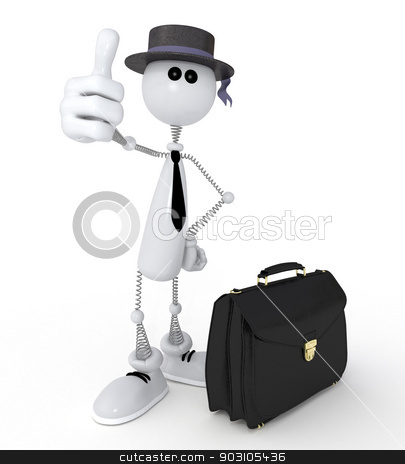 3d little man businessman. stock photo, The successful transaction in trade a professionalism sign. by karelin721