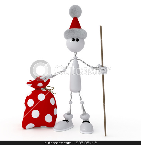 The 3D little man with gifts. stock photo, New Year comes to each house. by karelin721
