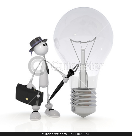 The 3D little man with a bulb. stock photo, Don't turn on the light, protect the electric power. by karelin721