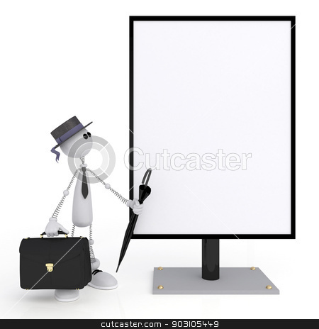 The 3D little man with a signboard. stock photo, The wooden character holds a billboard. by karelin721