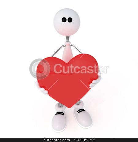 The 3D little man with heart. stock photo, Romantic condition of the character before appointment. by karelin721
