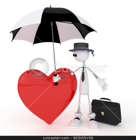 The 3D little businessman  with heart. stock photo, Romantic condition of the character before appointment. by karelin721