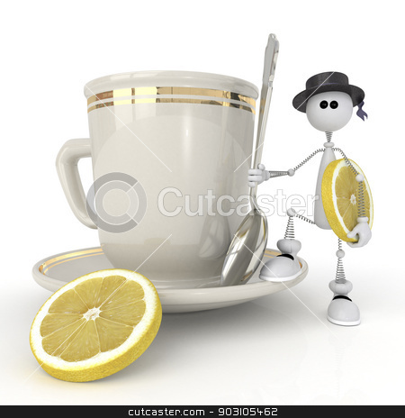 The little man with a mug. stock photo, The character holds tea service. by karelin721