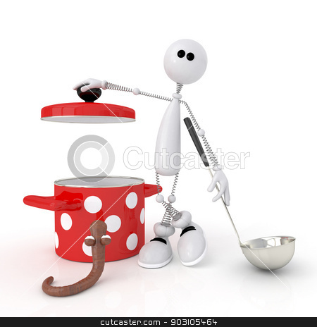 The 3D person with the Pan. stock photo, Subjects for preparation of tasty and nutritious food. by karelin721