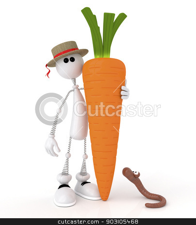 The 3D white little man with carrot. stock photo, The gardener grew up very big crop. by karelin721