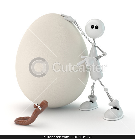 The 3D white person with egg. stock photo, Preparation for the birth of a new organism on our planet. by karelin721