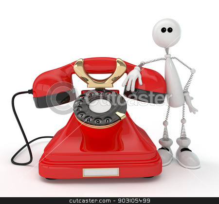 The 3D little man with phone. stock photo, It is pleasant to talk to friends late at night. by karelin721
