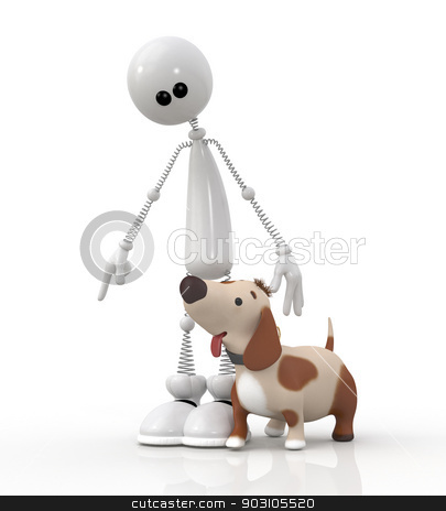 3d little dog with the friend.  stock photo, The ridiculous pet asks the owner to take a walk. by karelin721