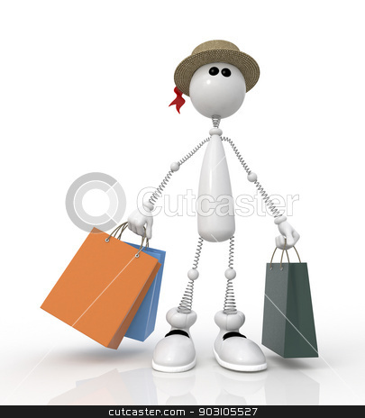 The 3D little man in shop. stock photo, Sale of goods at the low prices. by karelin721