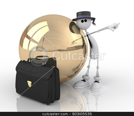 The 3D character with a gold sphere. stock photo, The businessman shows the way to success. by karelin721