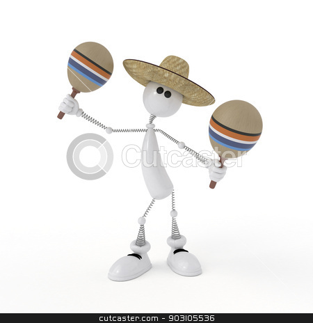 The 3D character plays on a maracas. stock photo, Playing music on ancient musical instruments. by karelin721